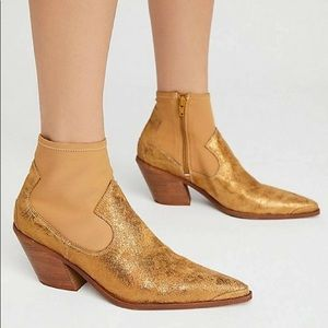 NWT Free people gold Jackson west ankle booties
